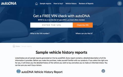 Screenshot of Products Page autodna.com - Sample vehicle history reports - autoDNA - captured Feb. 1, 2018