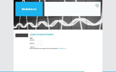 Screenshot of Login Page selektro.dk - Selektro :: extranet - captured June 16, 2015