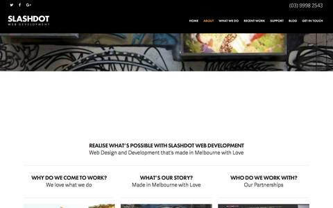 Screenshot of About Page slashdot.com.au - Wordpress, Shopify, Ecommerce & Bigcommerce Development Melbourne | Online Marketing Melbourne - captured Dec. 6, 2016