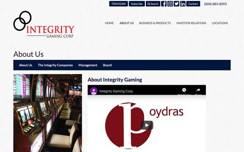 Screenshot of About Page integritygaming.com - About Us | Integrity Gaming Corp. - captured Oct. 12, 2018