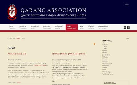 Screenshot of Press Page qarancassociation.org.uk - The QARANC Association - Latest - captured June 11, 2016