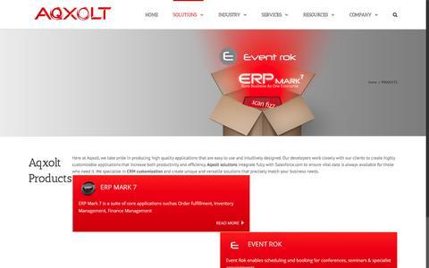 Screenshot of Products Page aqxolt.com - Aqxolt ERP Products Range - captured July 23, 2016