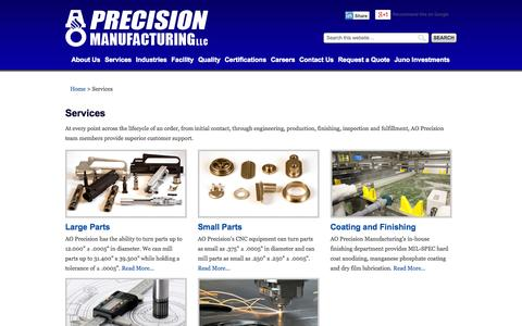 Screenshot of Services Page aopmfg.com - AO Precision Manufacturing | Services - captured Oct. 4, 2014