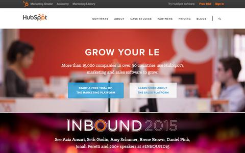 Screenshot of Home Page hubspot.com - HubSpot | Inbound Marketing & Sales Software - captured July 28, 2015