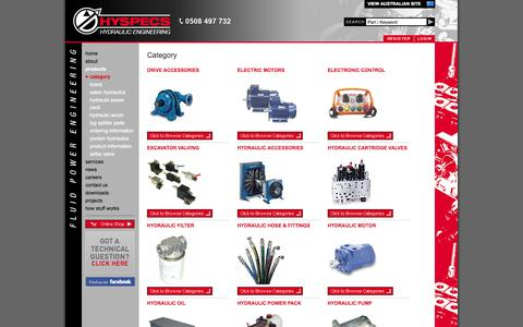 Screenshot of Products Page hyspecs.co.nz - Hyspecs Hydraulic Product Range - captured Oct. 3, 2014