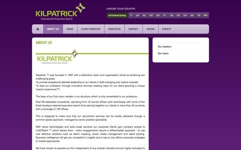 Screenshot of About Page kilpatrick.eu - About Us - captured Sept. 30, 2014