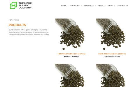Screenshot of Products Page hempplastic.com - Shop - Hemp Plastic - captured Aug. 17, 2019
