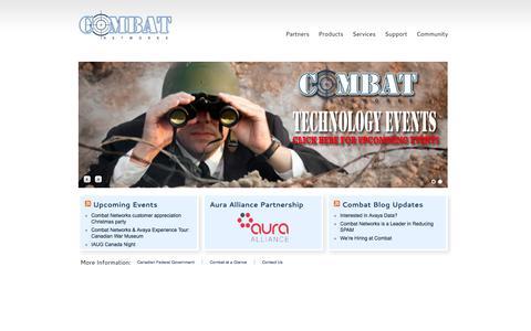 Screenshot of Home Page combatnetworks.com - Combat Networks — National Avaya Platinum Partner - captured Sept. 30, 2014