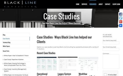 Screenshot of Case Studies Page blacklineconsulting.com - case studies - captured March 30, 2016