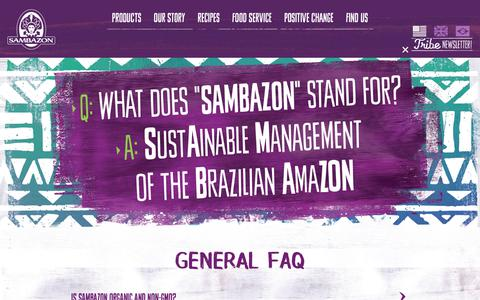 Screenshot of FAQ Page sambazon.com - FAQ | Sambazon - captured July 13, 2018