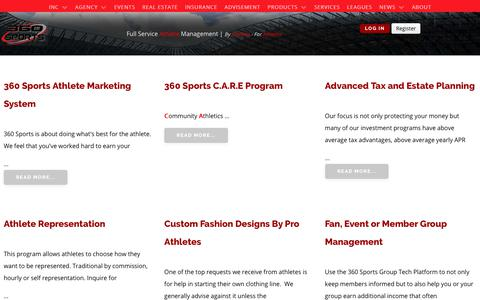 Screenshot of Services Page 360sportsagency.com - SERVICES - captured Sept. 21, 2018