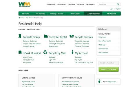 Screenshot of Support Page wm.com - Residential Landing | Help Center - captured Jan. 26, 2017