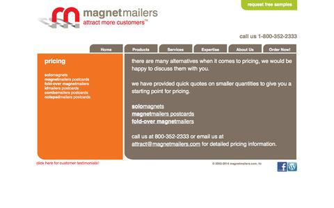 Screenshot of Pricing Page magnetmailers.com - Magnet Mailers - pricing | MagnetMailers.com - captured Oct. 4, 2014