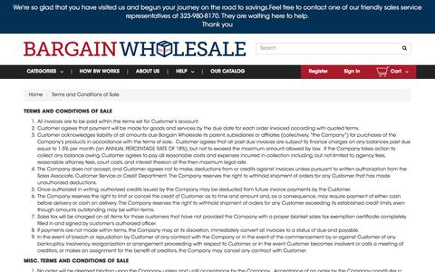 Screenshot of Terms Page bargainw.com - Wholesale Dollar Items Terms and Conditions of Sale 99 cents products | BargainW.com - captured Sept. 8, 2017