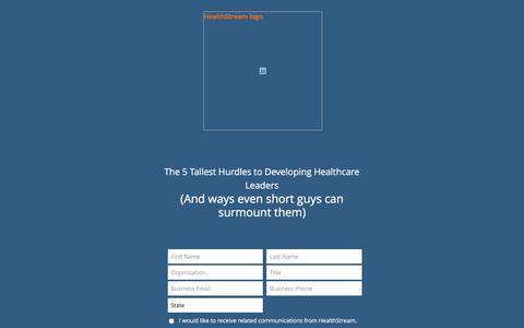 Screenshot of Landing Page healthstream.com - Free Webinar | The 5 Tallest Hurdles to Developing Healthcare Leaders - captured Aug. 1, 2016