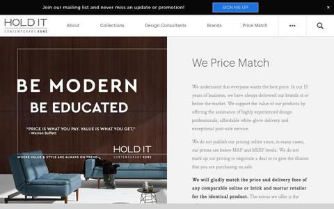 Screenshot of Pricing Page holdithome.com - Price Matching Policy at Hold It Contemporary Home in San Diego - captured Sept. 29, 2018
