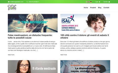 Screenshot of Blog oneglobebio.com - Più vita: Blog su come combattere il dolore senza farmaci| One Globe Bio - captured Aug. 2, 2018
