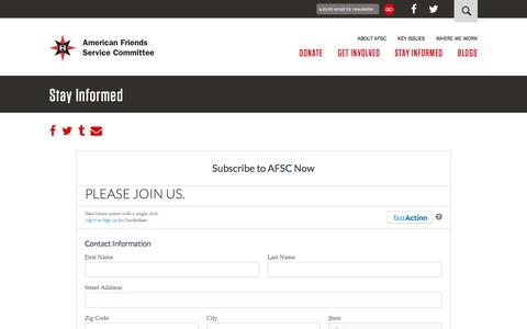 Screenshot of Signup Page afsc.org - Stay Informed | American Friends Service Committee - captured June 23, 2017