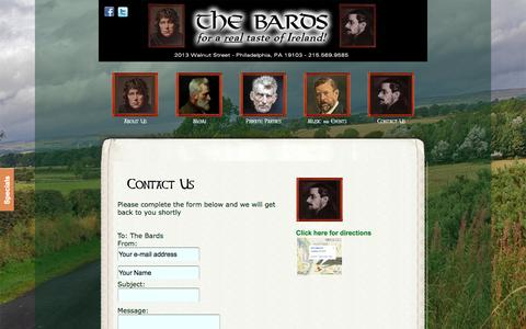 Screenshot of Contact Page Maps & Directions Page bardsirishbar.com - The Bards - Best Irish Bar in Philadelphia : For A Real Taste of Ireland - Contact Us - captured June 17, 2016
