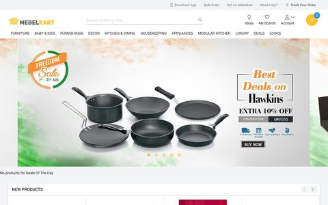 Screenshot of Home Page mebelkart.com - Furniture Online : Buy Office Furniture, Kitchenware, Furnishings Online in India - captured Aug. 22, 2016