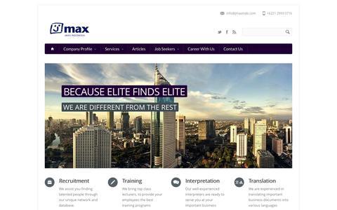 Screenshot of Home Page Site Map Page jmaxindonesia.com - Home | Recruitment Agency - captured Sept. 30, 2014