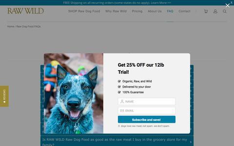 Screenshot of FAQ Page rawwild.com - Raw Dog Food FAQs   Raw Wild - captured July 8, 2018