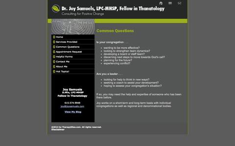 Screenshot of FAQ Page joysamuels.com - Common Questions: FAQS -Appreciative Inquiry, Conflict Resolution, Strategic Planning in faith communities in middle tn. - captured Oct. 4, 2014