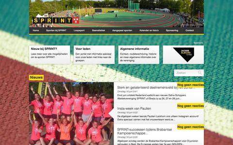 Screenshot of Home Page avsprint.nl - Atletiekvereniging SPRINT, Breda - captured June 17, 2015