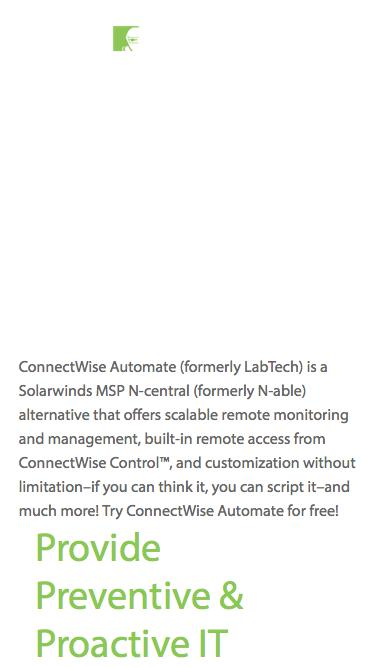 ConnectWise Automate vs. Solarwinds MSP® N-central