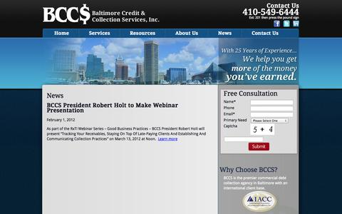 Screenshot of Press Page bccs2.com - Baltimore Credit and Collection Service News   BCCS - captured Oct. 5, 2014
