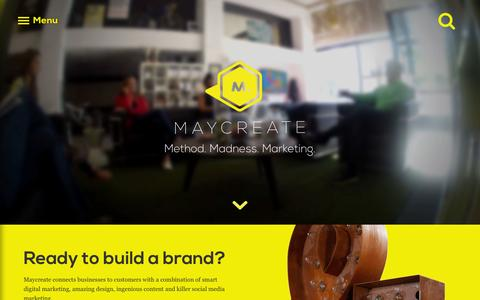 Screenshot of Home Page maycreate.com - Chattanooga Marketing Agency / Maycreate - captured Sept. 20, 2015