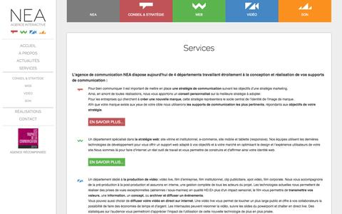 Screenshot of Services Page nea-design.fr - Services | Communication multimédia à Montpellier | NEA - Agence de Communication Montpellier - captured Nov. 3, 2014