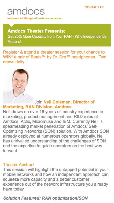 Amdocs MWC 2015 Insight Theater Presents: Get 25% More Capacity from Your RAN - Why Independence Matters!