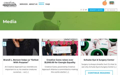 Screenshot of Press Page mycreativeapproach.com - Media | Creative Approach Print & Design - captured Oct. 12, 2019