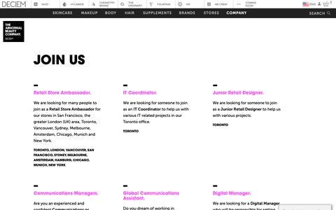 Screenshot of Jobs Page deciem.com - DECIEM | Join Us - captured Jan. 16, 2019