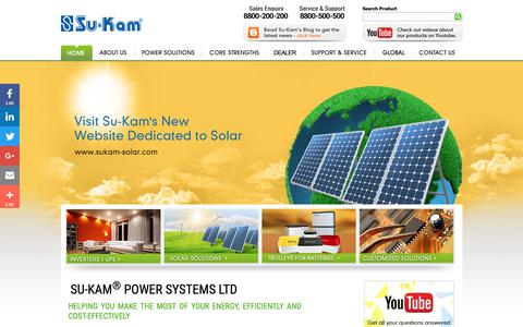 Screenshot of Home Page su-kam.com - SU-KAM : India's Largest Power Solutions Company - captured Nov. 12, 2018