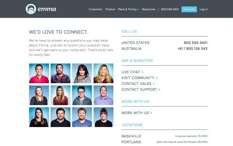Screenshot of Contact Page myemma.com - Contact Emma | Emma Email Marketing - captured Jan. 4, 2017