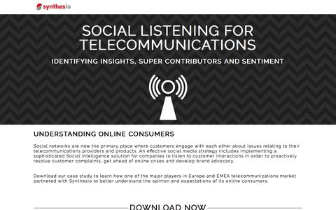 Screenshot of Landing Page synthesio.com - Social Listening for Telecommunications - captured March 10, 2017