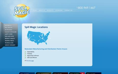 Screenshot of Locations Page spillmagic.com - Spill Magic Locations - captured Sept. 30, 2014