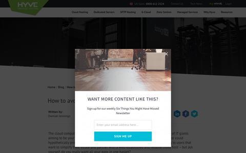 Screenshot of Blog hyve.com - Cloud hosting vendor lock in - captured July 7, 2018