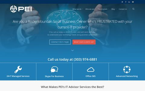 Screenshot of Home Page pei.com - PEI - IT Consulting,IT Support, &Managed Services Partner - captured May 11, 2017