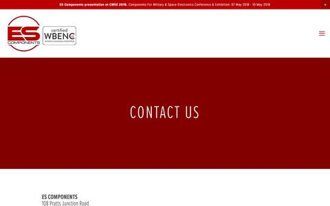 Screenshot of Contact Page escomponents.com - Contact Us — ES Components | An Authorized Distributor - captured July 15, 2018