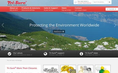 Screenshot of Home Page tri-sure.com - Tri-Sure® More than Closures - captured Oct. 7, 2014