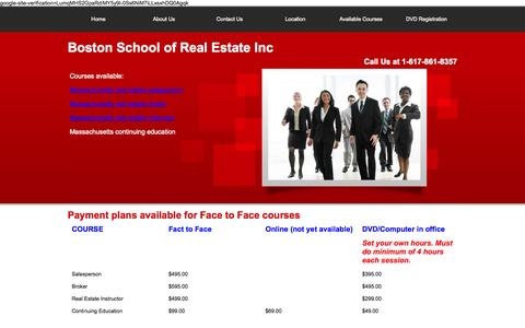 Screenshot of Pricing Page boston-realestateschool.com - Boston School of Real Estate Inc. - captured Nov. 3, 2014