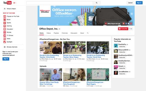 Screenshot of YouTube Page youtube.com - Office Depot, Inc.  - YouTube - captured Oct. 28, 2014