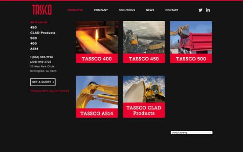 Screenshot of Products Page tassco.com - Products | Tassco Steel - captured Oct. 7, 2014