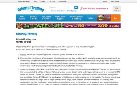 Screenshot of Terms Page orientaltrading.com - Welcome to Oriental Trading - captured Sept. 18, 2014