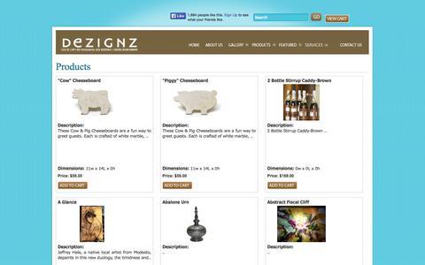 Screenshot of Products Page moderndezignz.com captured Oct. 5, 2014