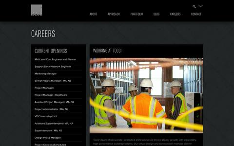 Screenshot of Jobs Page tocci.com - Careers - Tocci Building Companies - captured Oct. 1, 2014