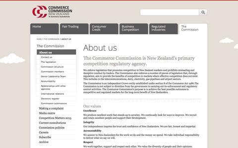 Screenshot of About Page comcom.govt.nz - About us   Commerce Commission - captured Oct. 2, 2014